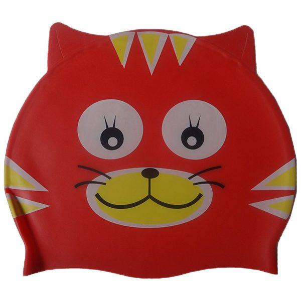 کلاه شنا واتر بچه گانه - طرح گربه - رنگ قرمز